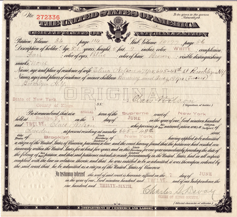 Brookenelson nelsonnilsson family history certificate of naturalization claes nelson 1betcityfo Choice Image