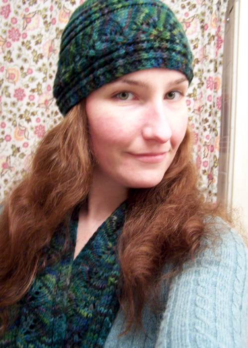brookes column of leaves knitted hat pattern
