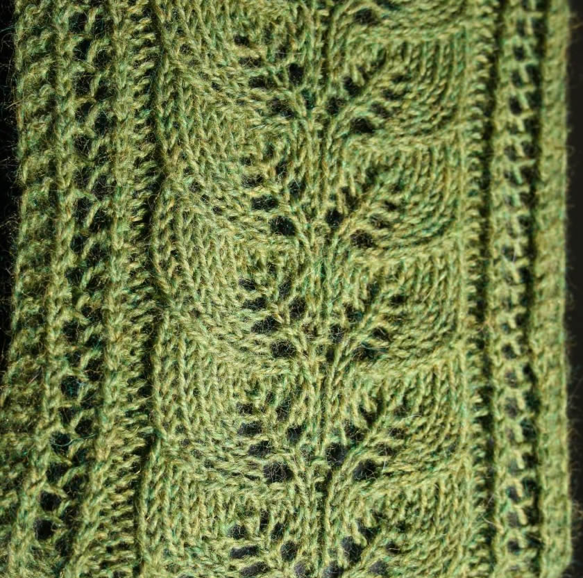 Brookes Column of Leaves Knitted Scarf Pattern